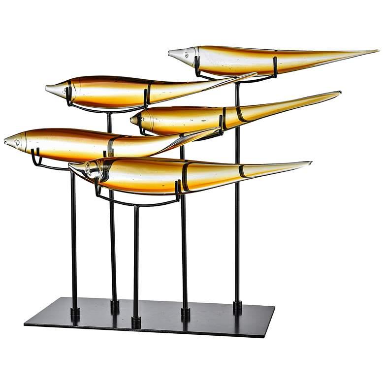 "Dale Tiffany Five Amber Fish 25"" Wide Art Glass Statue"