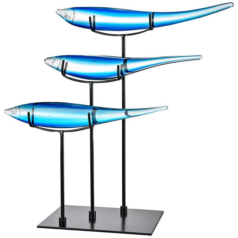"Dale Tiffany Three Blue Fish 20"" Wide Art Glass Statue"