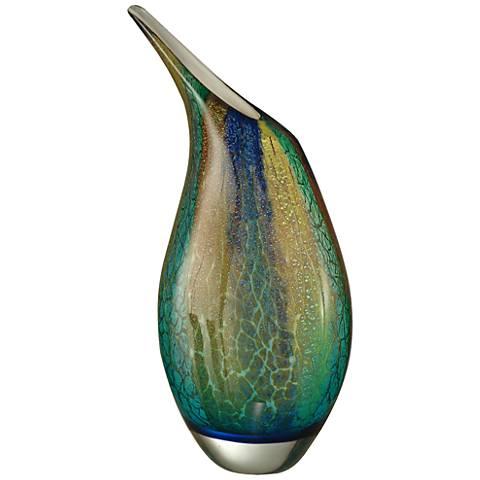 """Crackle Multi-Color Green 16 1/2"""" High Art Glass Vase"""