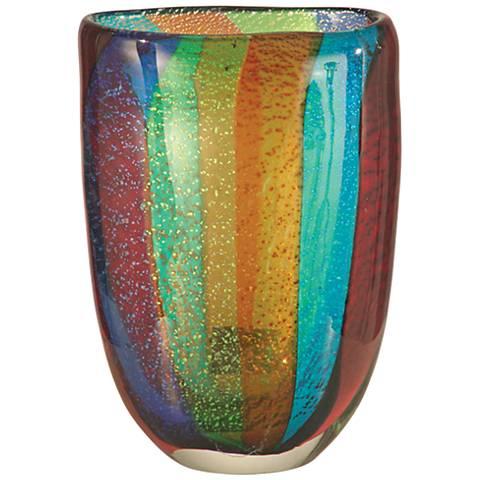 "Dale Tiffany Menlo Multi-Color 7 1/2"" High Art Glass Vase"
