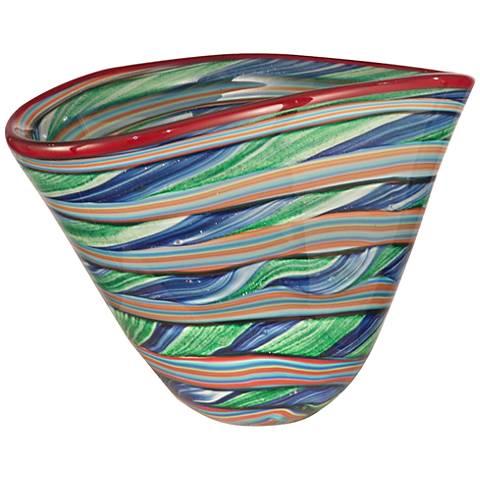 Dale Tiffany Ribbons Striped Multi-Color Art Glass Bowl