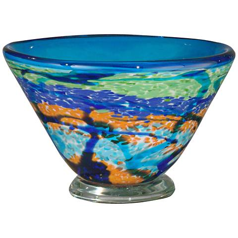 Dale Tiffany Henna Multi-Color Blue Art Glass Bowl
