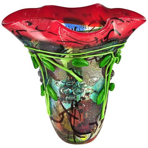 "Dale Tiffany Creeping Jenny Multi-Color 14""W Art Glass Vase"