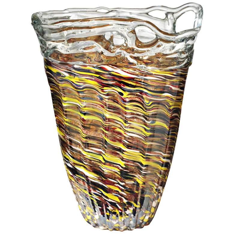 """Dale Tiffany Saffron Multi-Color 14"""" High Art Glass Vase"""