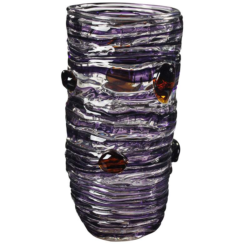 "Dale Tiffany Amethyst 14 1/4"" High Purple Art Glass Vase"