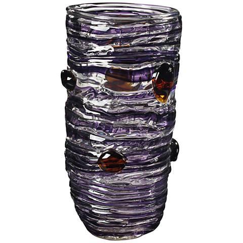 "Dale Tiffany Amethyst Multi-Color 14 1/4""H Art Glass Vase"