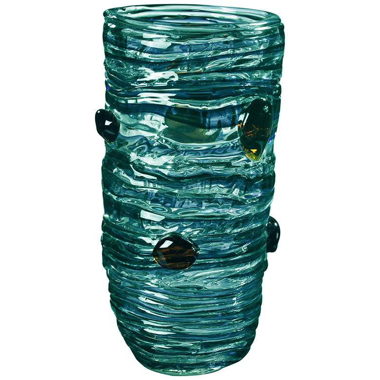 "Cannon Rock Multi-Color Blue 14 1/4"" High Art Glass Vase"