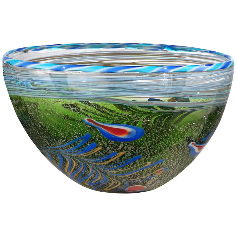 """Moss and Feather 12"""" Wide Multi-Color Green Art Glass Bowl"""