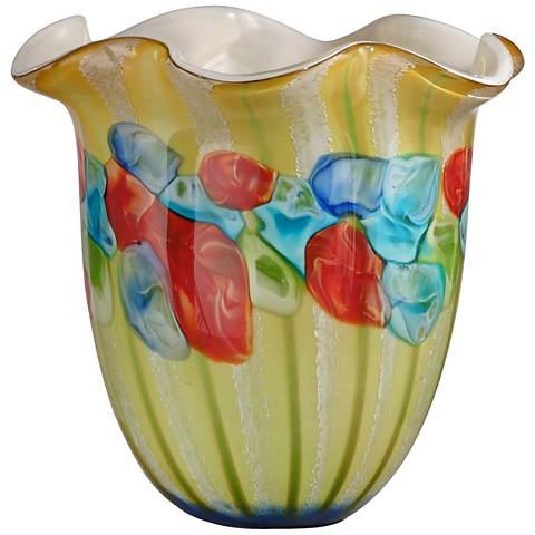 "Argentina Ruffle Multi-Color Yellow 11 3/4""H Art Glass Vase"