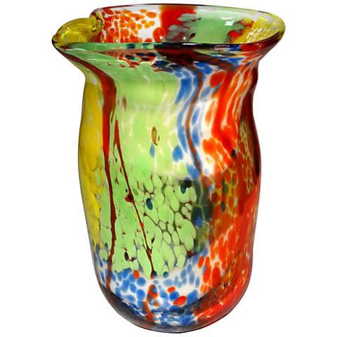 "Dale Tiffany Spectrum Multi-Color 12 1/2""H Art Glass Vase"