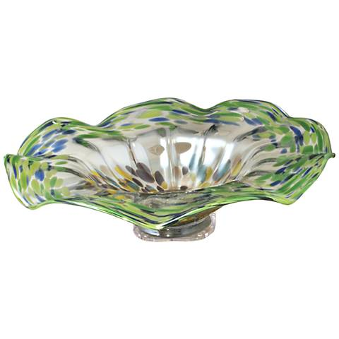 Florence Multi-Color Green Art Glass Charger Plate