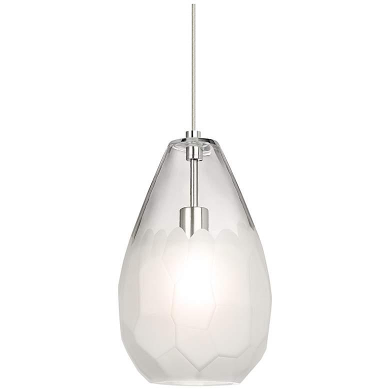 "Briolette Grande 8 3/4""W Satin Nickel LED Mini Pendant Light"