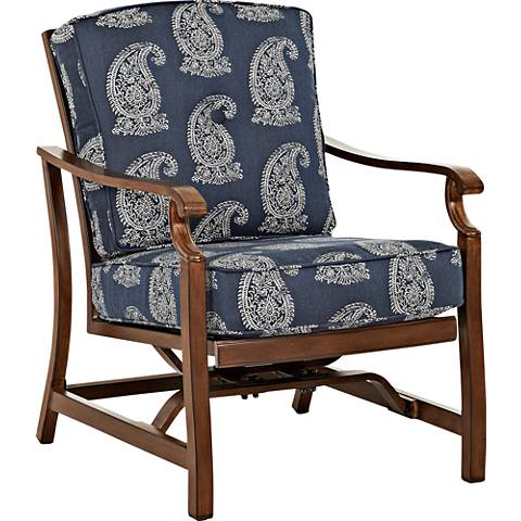 Trisha Yearwood Denim Fabric Coffee Outdoor Motion Armchair