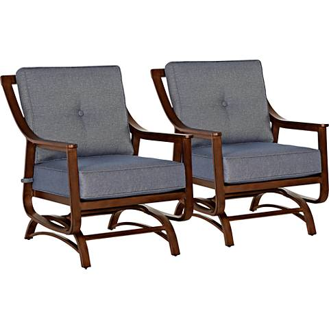 Trisha Yearwood Denim Outdoor Platform Rocker Chair Set of 2