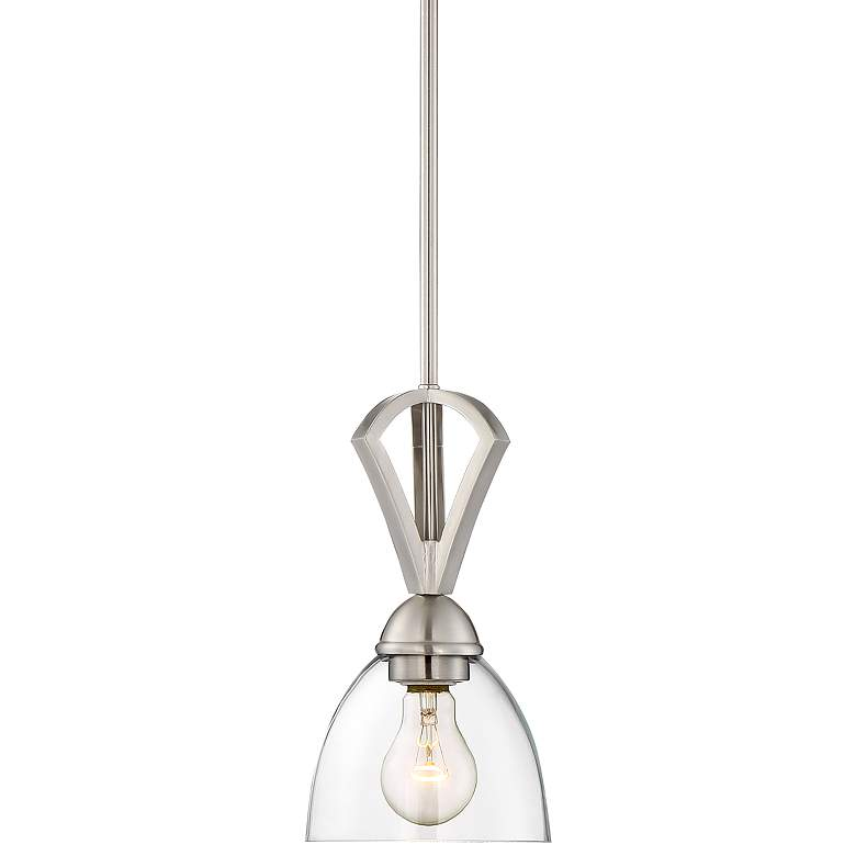 """Milbury 6"""" Wide Brushed Nickel and Clear Glass Mini-Pendant"""