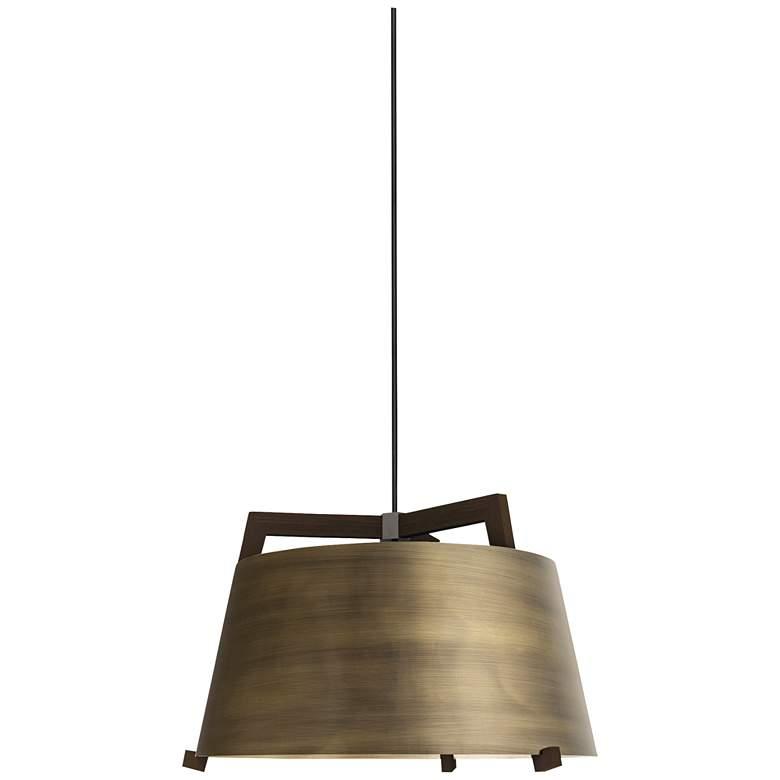 "Cerno Ignis 17"" Wide Dark Stained Walnut LED Pendant Light"
