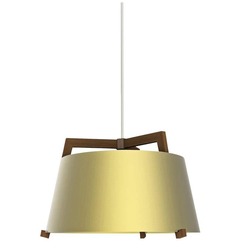 "Cerno Ignis 17"" Wide Walnut LED Pendant Light"
