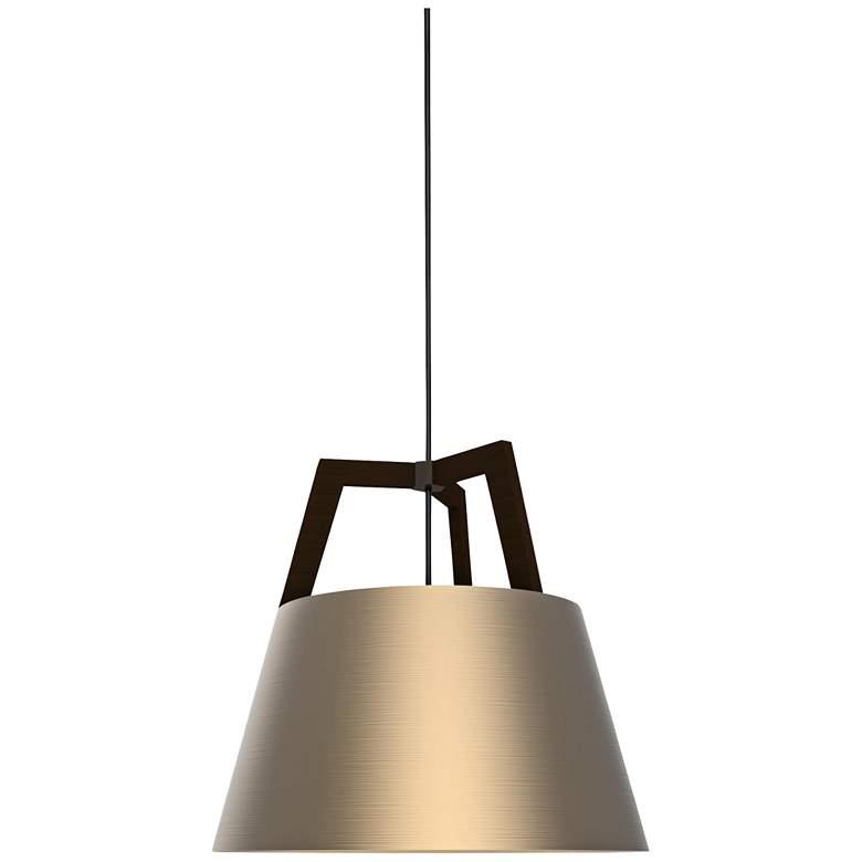 "Cerno Imber 17"" Wide Dark Stained Walnut LED Pendant Light"