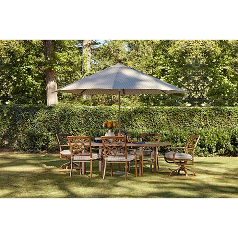 11-Foot Wide Striped Beige Canopy Umbrella