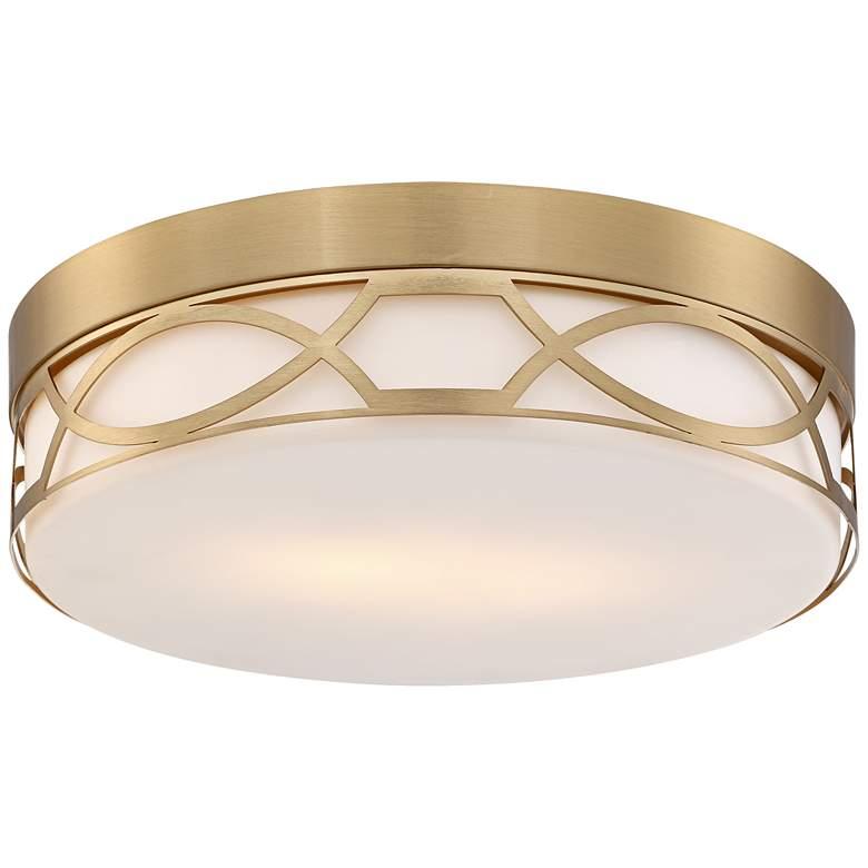 """Possini Euro Giltner 11 1/4"""" Wide Satin Brass Ceiling Light"""
