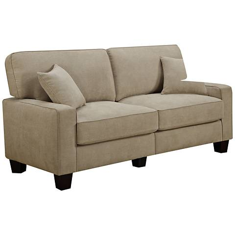 "Serta® RTA Martinique 78""W Navarre Beige Fabric Sofa"
