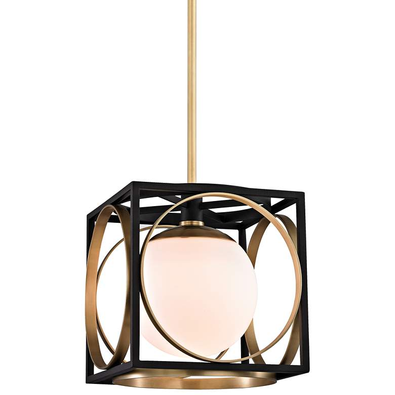 """Wadsworth 10"""" Wide Aged Brass and Black Mini Pendant"""