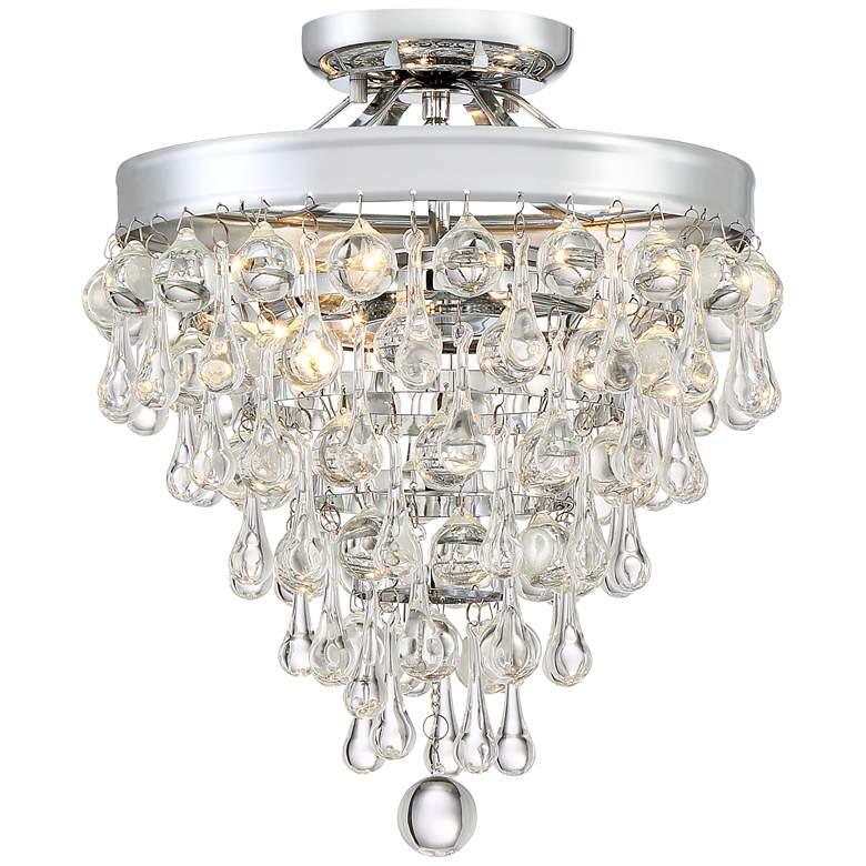 "Crystal Teardrop 11"" Wide Chrome Ceiling Light"