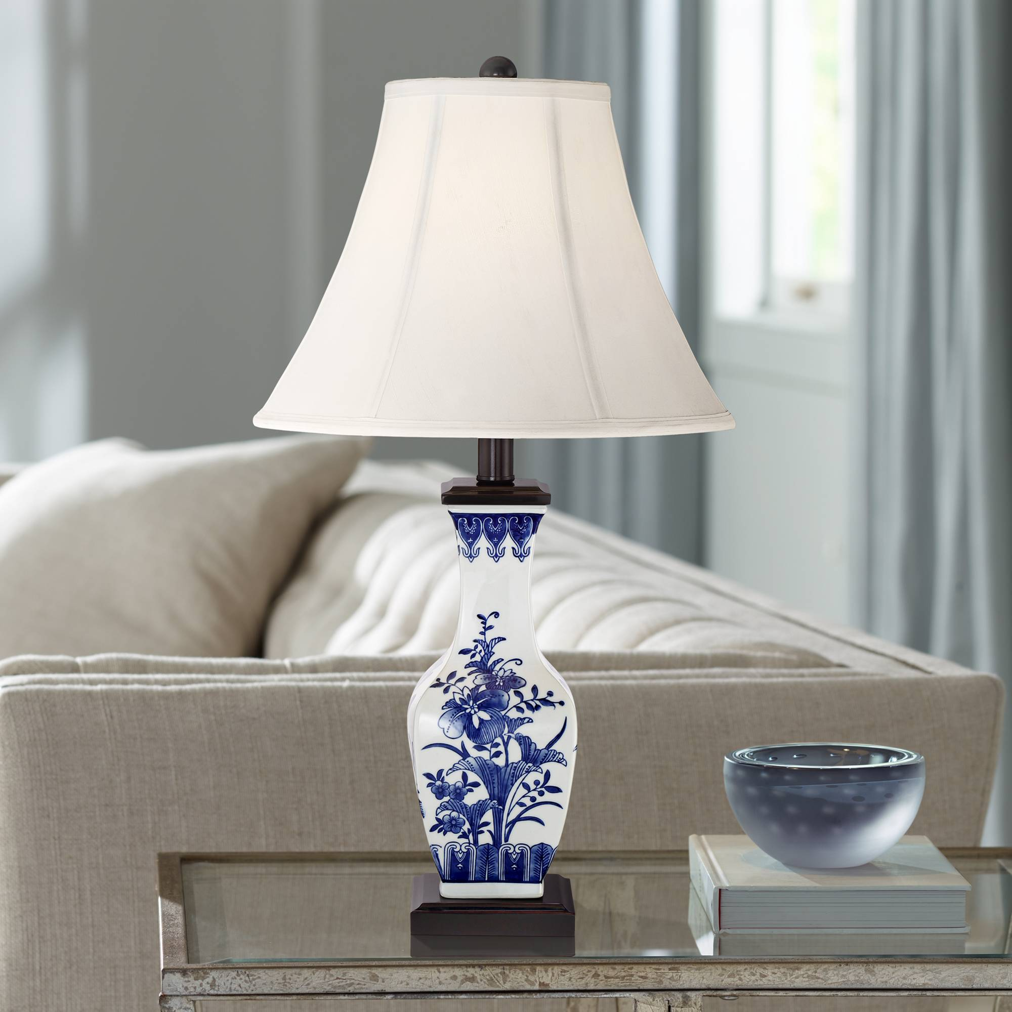 Details about Asian Table Lamp Ceramic Blue Floral Vase White for Living  Room Bedroom