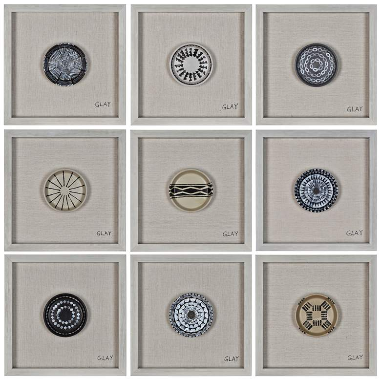"""Buttons 16"""" Square Aboriginal Patterns Framed Wall Art"""