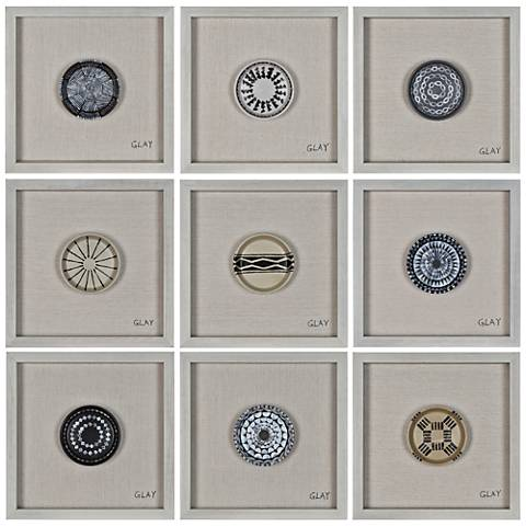 "Buttons 16"" Square Aboriginal Patterns Framed Wall Art"