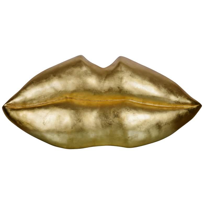 "Kiss Kiss 49"" Wide Gold Contemporary Wall Art"