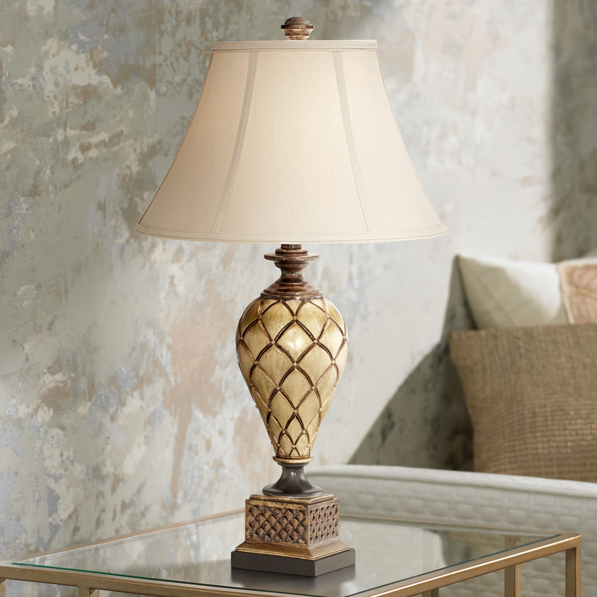 Details About Traditional Table Lamp Antique Gold Urn For Living Room Bedroom Nightstand