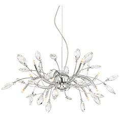 """Cantor 27 1/2"""" Wide 10-Light Chrome with Crystal Chandelier"""