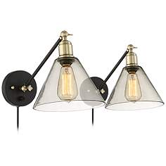 Waller Black And Br Plug In Wall Lamp Set Of 2