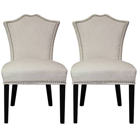 Sweetheart Ivory Regency and Blue Ogee Dining Chair Set of 2