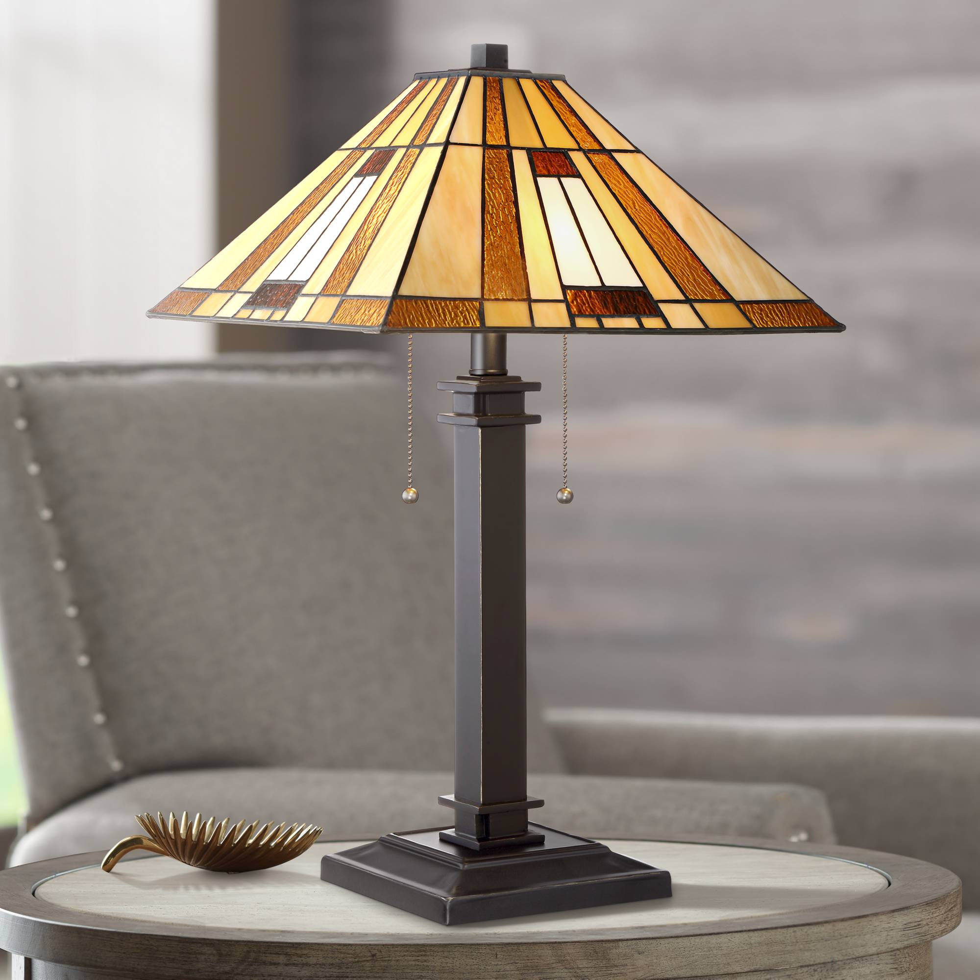 Living Room With Wooden End Table And Tiffany Lamp: Tiffany Style Accent Table Lamp Mission Bronze Amber Art