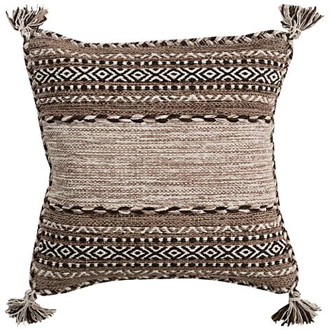 """Surya Trenza Black and Brown 20"""" Square Throw Pillow"""