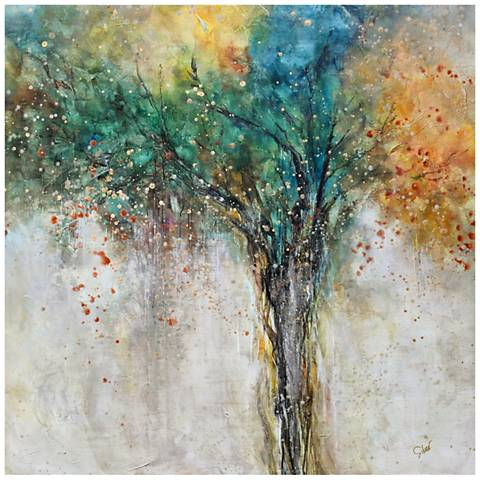 "April Mist 35"" Square Abstract Canvas Wall Art"