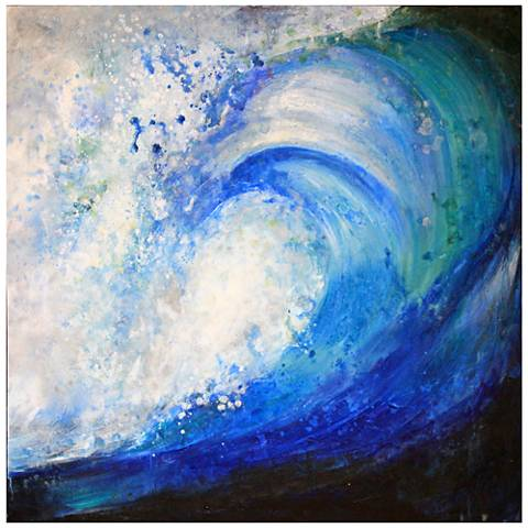 "Rincon Point 35"" Square Abstract Canvas Wall Art"