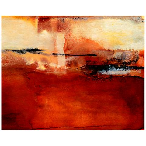 """Thalia Street 40"""" Wide Red Abstract Canvas Wall Art"""