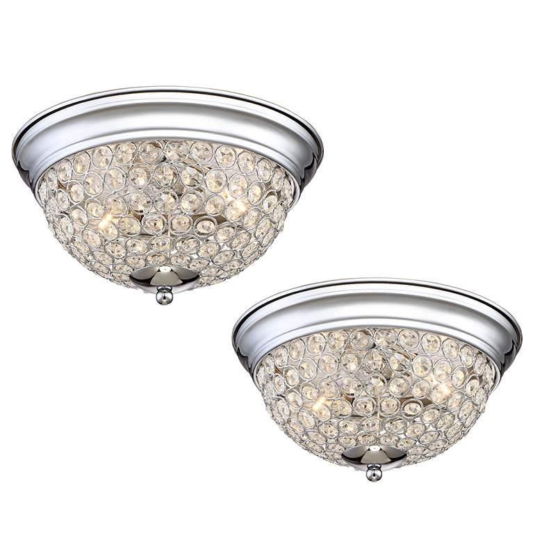 Possini Euro Faith Chrome-Crystal Ceiling Lights Set of 2