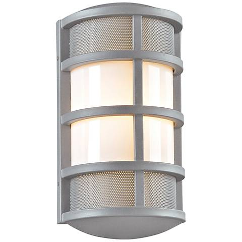 "Olsay 15"" High Silver Capsule Outdoor Wall Light"