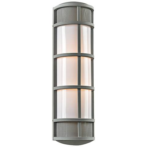 "Olsay 27"" High Silver Capsule Outdoor Wall Light"