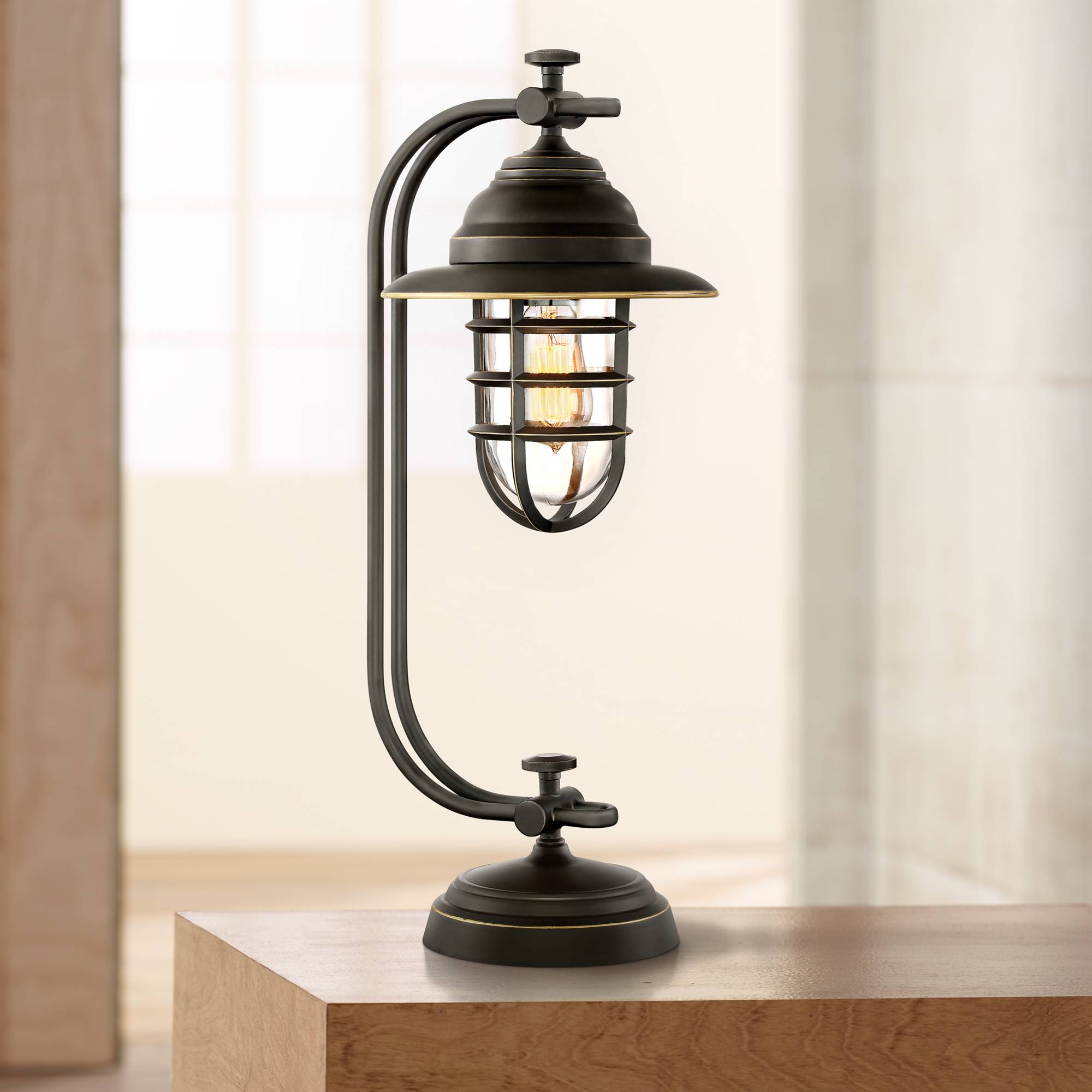 Industrial Style Desk Lamp Oil Rubbed Bronze Cage Led