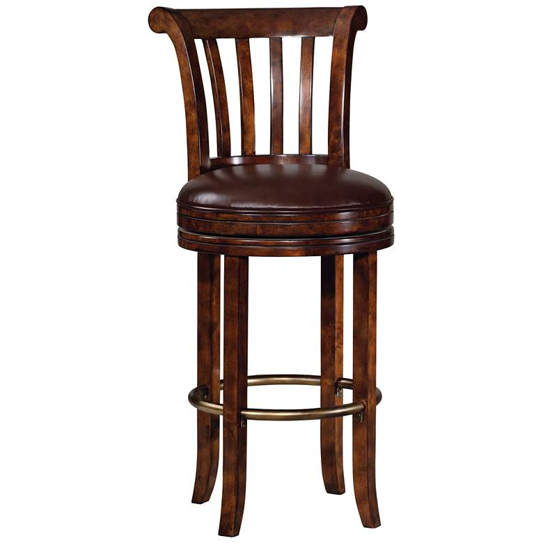 "Ithaca 30 1/2"" Brown Faux Leather Swivel Barstool"