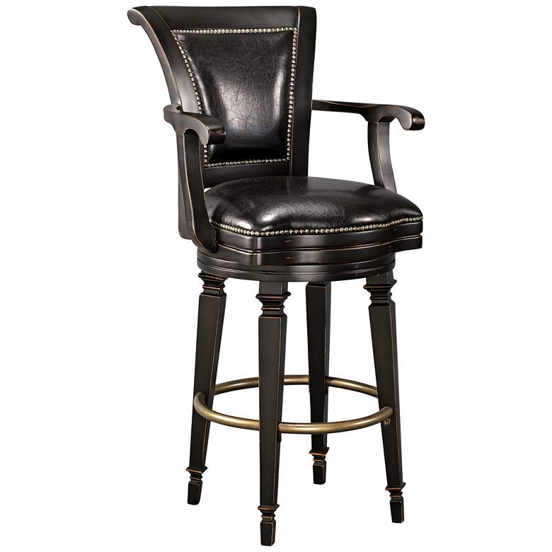 "Northport 30 1/2"" Black Faux Leather Swivel Barstool"