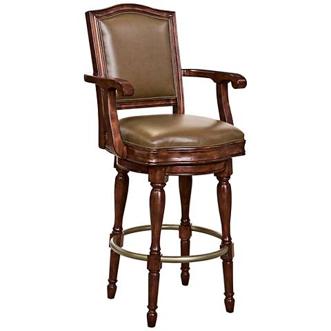 "Cheers 30 1/2"" Brown Faux Leather Swivel Bar Stool"