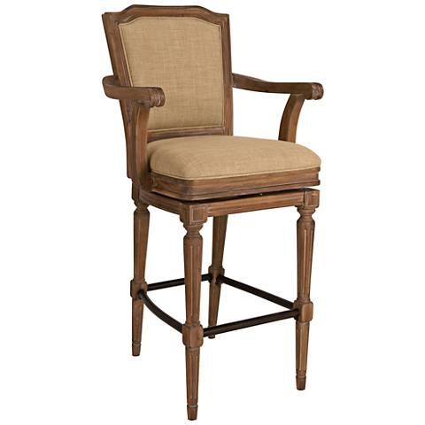 "Howard Miller Woodrow 30 3/4"" Linen Tone Swivel Barstool"