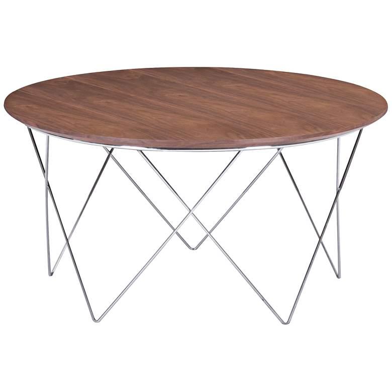 """Zuo 32 1/4"""" Wide Macho Walnut Round Modern Coffee Table"""