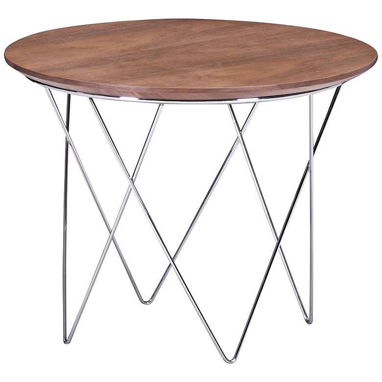 "Zuo Macho 20 1/2"" Wide Walnut and Chrome Modern Side Table"